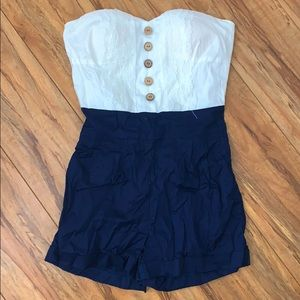 Cute navy blue and white romper